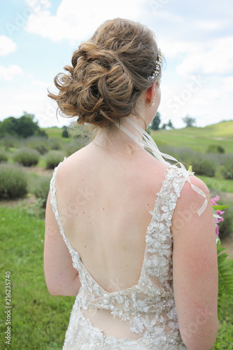 Outside Back View Of Bride With Her Bridal Wedding Hairstyle Updo