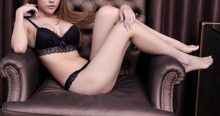 sexy young woman model in sexy black lingerie