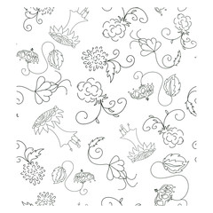 doodle seamless pattern with flowers