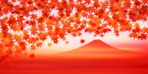 紅葉 秋 富士山 背景