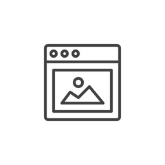 Website Picture outline icon. linear style sign for mobile concept and web design. Browser window with Picture simple line vector icon. Symbol, logo illustration. Pixel perfect vector graphics