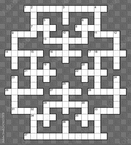 blank crossword puzzle template for 37 numbers or 40 words against a