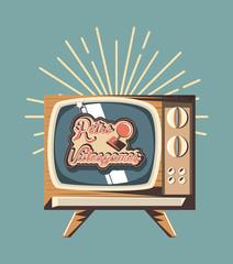 retro videogames design with retro television icon and decorative sunburst over blue background, colorful design. vector illustration