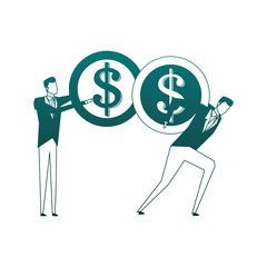 Businessmens holding coins on back vector illustration graphic design