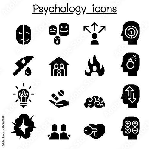 Psychology Icon Set In Thin Line Style Stock Image And Royalty Free