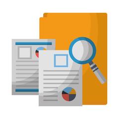 office folder documents file magnifying glass vector illustration