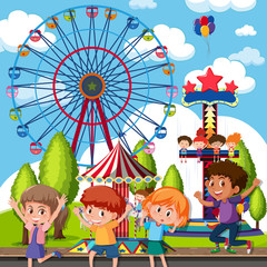 A group of children at theme park