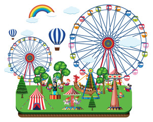Fair scene with amusement rides