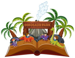 A pop up book dinosaur theme