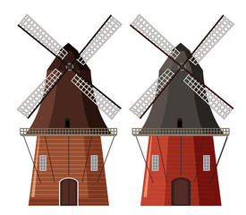 A set of wooden windmill
