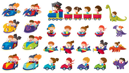 A set of children rides