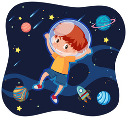 A happy boy in space