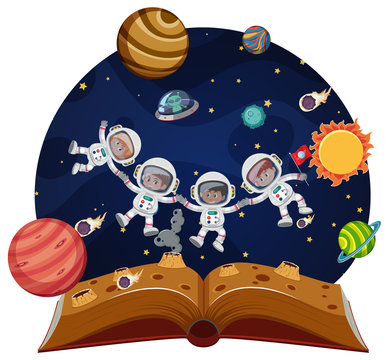 Children astronauts in space pop up book