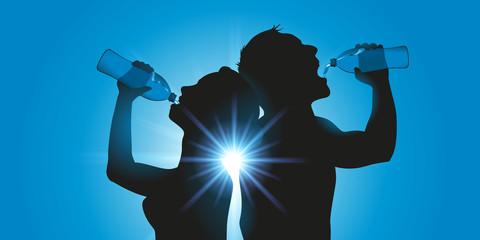soif - bouteille d'eau - sportif - chaleur - canicule - eau - boire - footing - fitness - boire à la bouteille