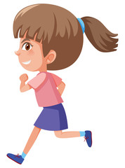A cute girl running on white background