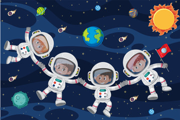 Astronuats floating through space