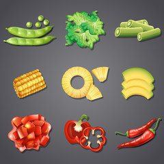 Set of different vegetables and fruit