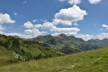 The Grunwaldsee in Obertauern. Hochalm and Seekarspitze. Austria