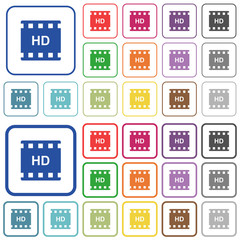 HD movie format outlined flat color icons