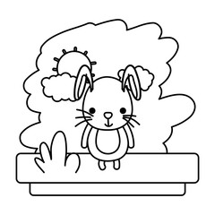 line kawaii rabbit cute wild animal