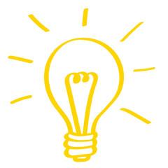 Handgezeichnete Glühbirne in gelb