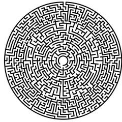 Maze circle. Labyrinth. Maze symbol. Isolated on white background