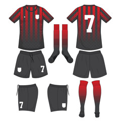 red and black soccer jersey with sock and black short mock up