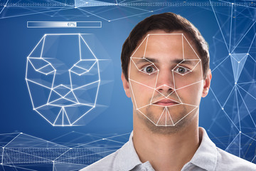 Close-up of a man's face recognition