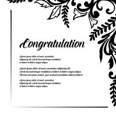 Collection congratulation floral design hand draw vector illustration
