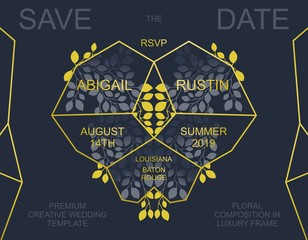 Creative Wedding Invitation. Trendy Save the Date card design. Golden geometric frame and floral composition.  Vector template