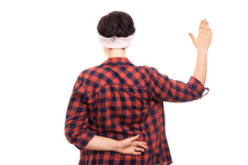 Back view of pin-up girl wearing glasses showing fake oath gesture.