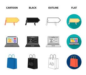 Baseball cap, pointer in hands, laptop, shopping bag.Advertising,set collection icons in cartoon,black,outline,flat style vector symbol stock illustration web.