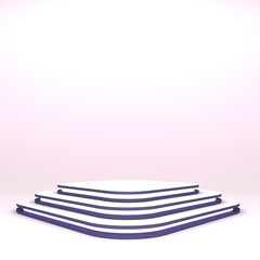 Square pedestal. Mock up of empty stage. Space to place your object or project. 3d render. Pink neon.