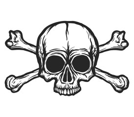 Human skull with bones vector silhouette isolated on white. Hand drawn black and white skull illustration. Tattoo or print design. Transparent background.