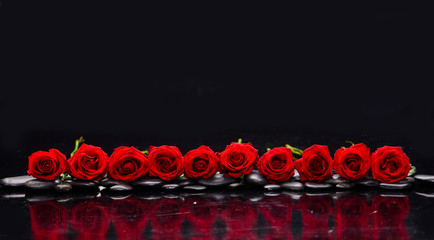 In de dag Spa row of red rose and wet stones-black background