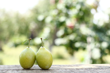 sweet summer variety/ Two plums with leaves on a table in the garden