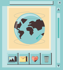 social media marketing with world planet vector illustration design