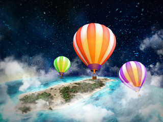 Illustration of  hot air balloon flying above the ground in the clouds at night. 3D rendering.