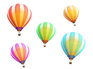 Multi-colored balloons of different color isolated on white background. Design element. 3D rendering.