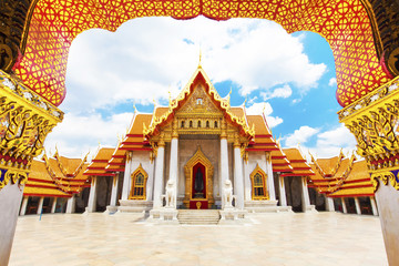 Wall Mural - Wat Benchamabophit or Marble temple in Bangkok, Thailand