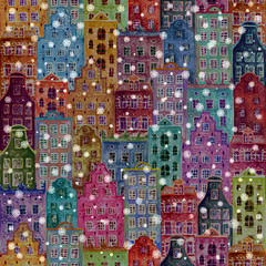 Christmas background with old europe houses
