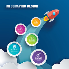 Startup infographics with 5 circle data template. Vector illustration abstract rocket paper art background. Can be used for planning, strategy, workflow layout, business step, banner, web design.