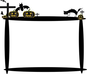 Halloween vector illustrations, Halloween pumpkins, ghosts, crosses, bats and dark castle, witch riding broom On the moon background illustration.