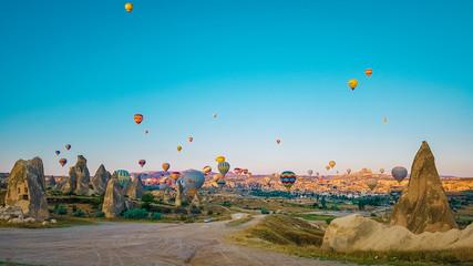 Kapadokya sunrise with hot air balloons Wall mural