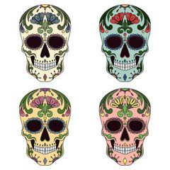 Set of vector images of mexican skulls.