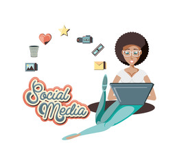 woman with laptop social media icons vector illustration design