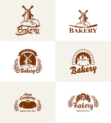 Bread basket logo. Vector design. Bakery emblem on white background.