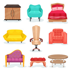 Furniture collection, interior design elements for office or home vector Illustrations on a white background