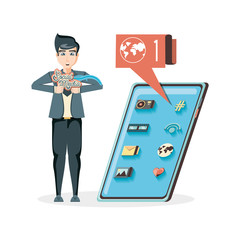 man with smartphone social media icons vector illustration design