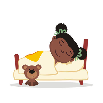 Vector illustration of little girl sleeping in bed шт cartoon style.